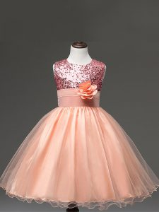 Peach Sleeveless Tulle Zipper Little Girl Pageant Dress for Wedding Party