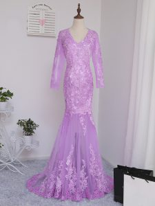 Lilac Mermaid Tulle V-neck Long Sleeves Lace and Appliques Side Zipper Custom Made Pageant Dress Brush Train