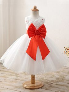 Perfect Sleeveless Organza Mini Length Zipper Little Girls Pageant Gowns in White with Bowknot