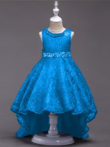 Lace Scoop Sleeveless Lace Up Beading Little Girl Pageant Gowns in Blue