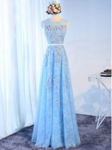 Dazzling Sleeveless Zipper Floor Length Beading and Lace and Appliques and Belt Glitz Pageant Dress