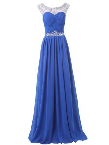 Scoop Sleeveless Pageant Dress Wholesale Floor Length Sweep Train Beading Blue Chiffon
