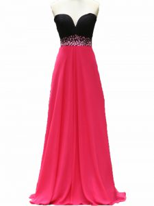 Pink And Black Pageant Gowns Prom and Party and Military Ball and Sweet 16 with Beading Sweetheart Sleeveless Zipper