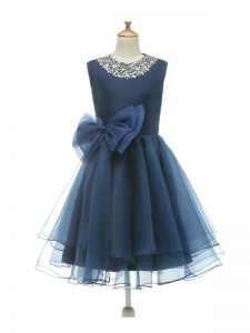 Scoop Sleeveless Tulle Pageant Dress Beading and Bowknot Zipper