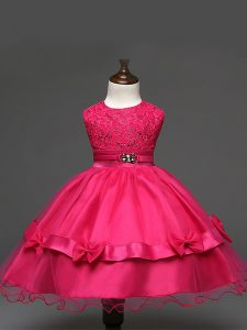 Hot Pink Zipper Little Girl Pageant Gowns Lace and Bowknot Sleeveless Knee Length