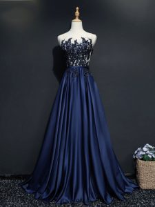 Fashion Navy Blue Zipper Scoop Beading and Appliques Pageant Dress for Teens Taffeta Sleeveless Brush Train