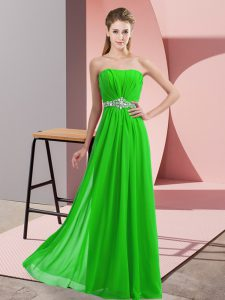 Discount Green Sleeveless Beading Floor Length Winning Pageant Gowns