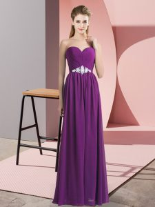 Comfortable Purple High School Pageant Dress Prom and Party with Beading Sweetheart Sleeveless Lace Up