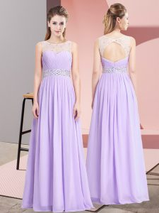 Floor Length Lavender Custom Made Pageant Dress Chiffon Sleeveless Beading