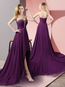 Latest Purple Custom Made Pageant Dress Prom and Party with Beading Sweetheart Sleeveless Zipper