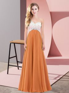 Shining Orange Red Empire Beading Pageant Dress Criss Cross Chiffon Sleeveless Floor Length