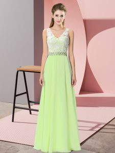 V-neck Sleeveless High School Pageant Dress Floor Length Beading Yellow Green Chiffon