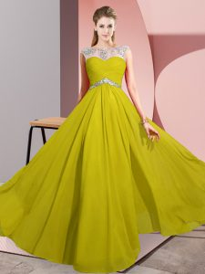 Amazing Yellow Empire Scoop Sleeveless Chiffon Floor Length Clasp Handle Beading Pageant Dresses