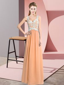 Noble V-neck Sleeveless Chiffon Pageant Gowns Lace Zipper