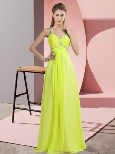 Floor Length Yellow Green Evening Gowns One Shoulder Sleeveless Lace Up