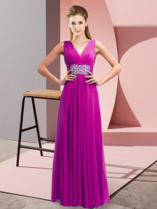 Fuchsia Sleeveless Beading and Ruching Floor Length Pageant Dress