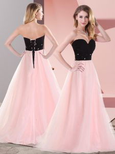 Sweetheart Sleeveless Lace Up Pageant Dress for Girls Pink And Black Tulle