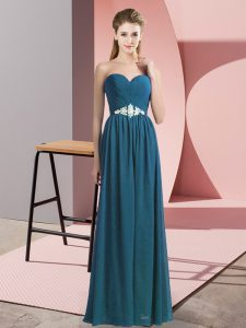 Most Popular Teal Empire Beading Pageant Dresses Lace Up Chiffon Sleeveless Floor Length