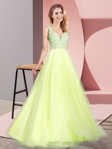 Discount Floor Length Light Yellow Pageant Dress Womens Tulle Sleeveless Lace