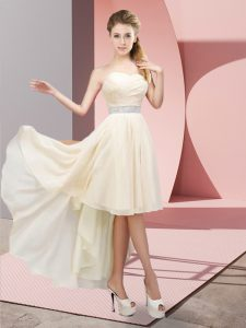 Fashion Champagne Evening Gowns Prom and Party with Beading Sweetheart Sleeveless Lace Up