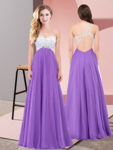 Flare Eggplant Purple Empire Chiffon One Shoulder Sleeveless Beading Floor Length Lace Up Glitz Pageant Dress