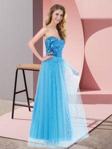 Eye-catching Floor Length Blue Pageant Dress Womens Sweetheart Sleeveless Lace Up
