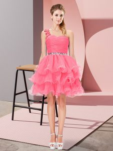 Smart Mini Length A-line Sleeveless Watermelon Red Pageant Dress Wholesale Lace Up