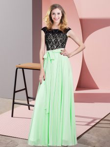 Cute Scoop Sleeveless Chiffon Pageant Dress for Womens Lace and Belt Lace Up