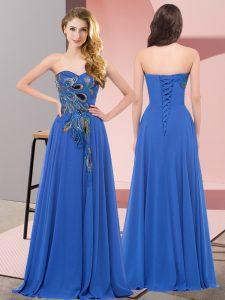 Embroidery Pageant Dress Toddler Blue Lace Up Sleeveless Floor Length