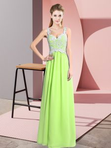 Sexy Yellow Green Zipper V-neck Lace Pageant Dress Womens Chiffon Sleeveless