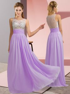Lavender Empire Beading Pageant Gowns Side Zipper Chiffon Sleeveless Floor Length