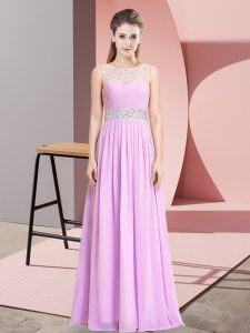 Scoop Sleeveless Lace Up Pageant Gowns Lilac Chiffon