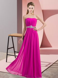 Custom Fit Fuchsia Empire Chiffon Strapless Sleeveless Beading Floor Length Lace Up Pageant Gowns