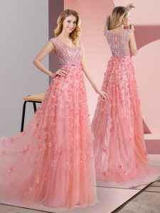 V-neck Sleeveless Sweep Train Zipper Pageant Dress Pink Tulle