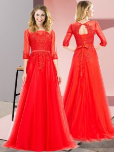 Lovely Red Empire Square 3 4 Length Sleeve Tulle Floor Length Lace Up Lace Pageant Dress Toddler