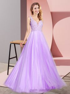 Lavender Tulle Zipper Pageant Dress for Teens Sleeveless Floor Length Lace