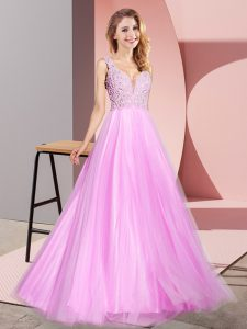 High End Sleeveless Tulle Floor Length Zipper Pageant Gowns in Lilac with Lace