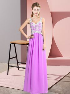 Stylish Lilac Chiffon Zipper Glitz Pageant Dress Sleeveless Floor Length Lace