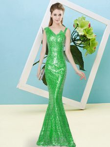 Glittering Green High School Pageant Dress Prom and Party with Sequins Asymmetric Sleeveless Zipper