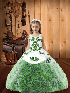 Unique Straps Sleeveless Fabric With Rolling Flowers Child Pageant Dress Embroidery and Ruffles Lace Up