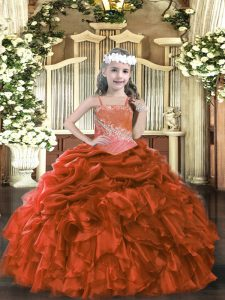 Floor Length Lace Up Kids Pageant Dress Rust Red for Party and Sweet 16 and Quinceanera and Wedding Party with Appliques and Ruffles