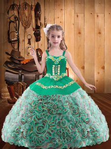 Fabric With Rolling Flowers Sleeveless Floor Length Pageant Dresses and Embroidery and Ruffles