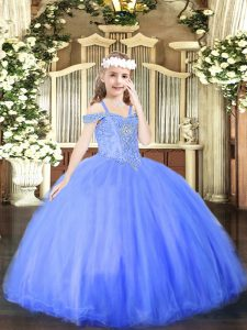 Pretty Floor Length Blue Child Pageant Dress Tulle Sleeveless Beading