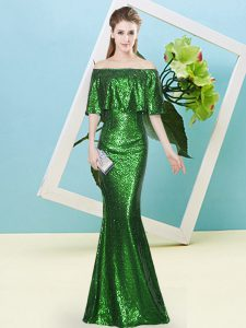 Admirable Dark Green Mermaid Sequins Pageant Dress for Teens Zipper Sequined Half Sleeves Floor Length