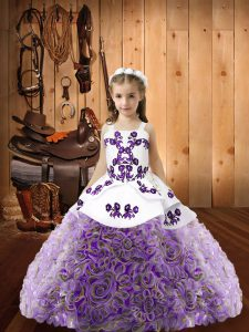 Custom Fit Embroidery Pageant Dress Multi-color Lace Up Sleeveless Floor Length