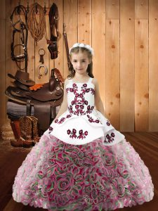Fantastic Sleeveless Lace Up Floor Length Embroidery and Ruffles Pageant Gowns