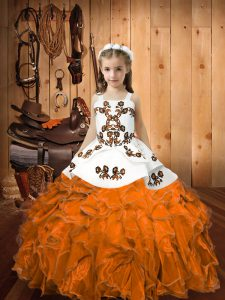 Pretty Orange Organza Lace Up Pageant Dress for Womens Sleeveless Floor Length Embroidery and Ruffles