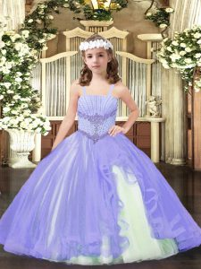 Floor Length Lavender Evening Gowns Straps Sleeveless Lace Up