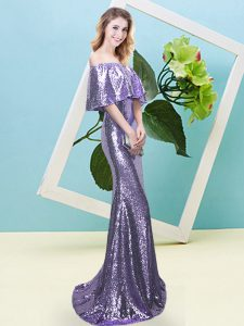 Off The Shoulder Half Sleeves Pageant Dress for Teens Floor Length Sequins Lavender Sequined