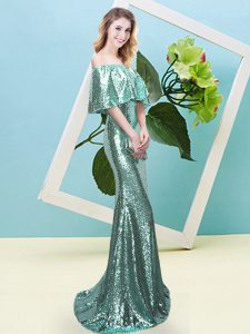 High Quality Floor Length Zipper Evening Gowns Apple Green for Prom and Party with Sequins